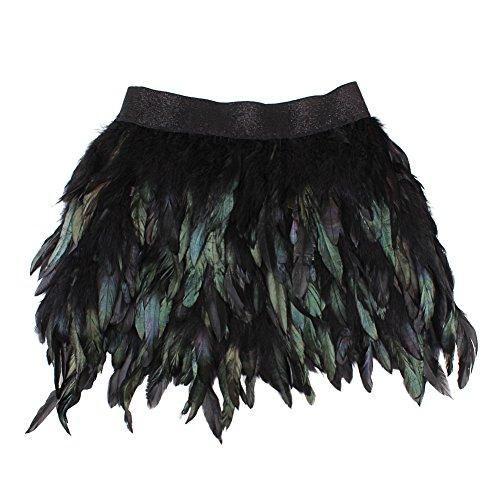 Sunbeter Frauen Schwarzer Feder Minirock mit elastischer Taille A-Linie Rock(M,Die Größe ist kleiner als normal)
