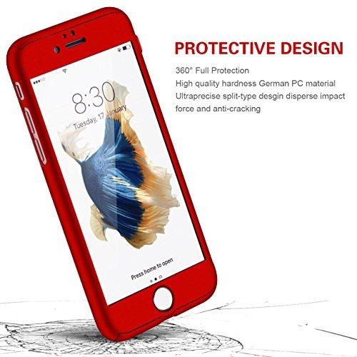 iPhone 5/5s/SE 360 Degres + Protection en Verre Trempé, [ 360 ° ] Coque de protection avant et arrière cases iPhone 5/5s/SE Integrale pour iPhone 5/5s/SE - Noir Rouge