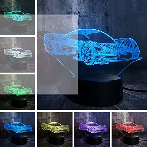 Lampe der Illusions-3D führte Nachtlicht, 7 Farbänderung Neuheit kühles modernes Ferrari Car3D Tischplattenlampensensorlicht-Neuheitssensorlicht USB trieb Superautofansgeschenk an