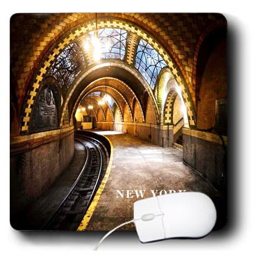 3dRose LLC 8 x 8 x 0.25 Inches Mouse Pad, Tiled New York Subway Station at City Hall (mp_101807_1)