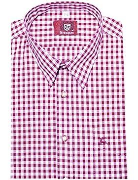 Trachten Hemd beerenfarben pink-rotton weiß kariert Orbis 0070 bequemer Schnitt M bis 6XL