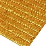 Godagoda 3D Ziegel Tapete Wandaufkleber Selbstklebend Stereo Wandtattoo Papier für Schlafzimmer Kinderzimmer TV Hintergrund 60x30cm Gold