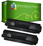 PRINTING PLEASURE 2 Compatible Toner Cartridges for HP Laserjet P1005 P1006 P1007 P1008 P1009 Canon LBP-3010 LBP-3100 LBP-3018 LBP-3108 LBP-3050 LBP-3150 - Black, High Yield
