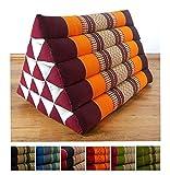 Großes Dreieckskissen als Rückenstützkissen, Thaikissen bzw. Keilkissen, Nackenkissen fürs Bett (orange)