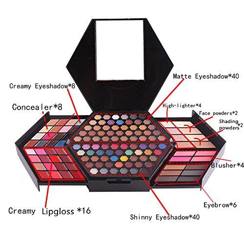 BrilliantDay 130 color paleta de sombra de ojos Blush Corrector Kit Belleza brillo de labios maquillaje Set