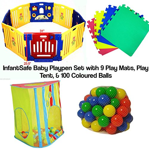 Infantsafe Plastic Baby Playpen Set w/ Play Tent - 9 Soft Foam Play Mats & 100 Coloured Playballs - Perfect for Babies and Toddler