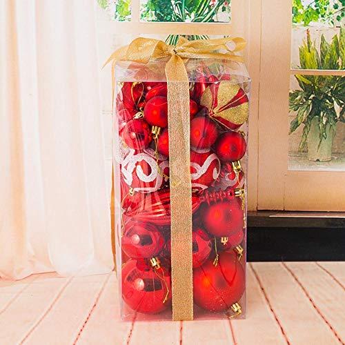 Doolland 50 Paket Verschiedene Bruchsicher Weihnachtskugel Ornamente Set Dekorative Kugeln Anhänger Geschenkpapier für Weihnachtsbaum (red)