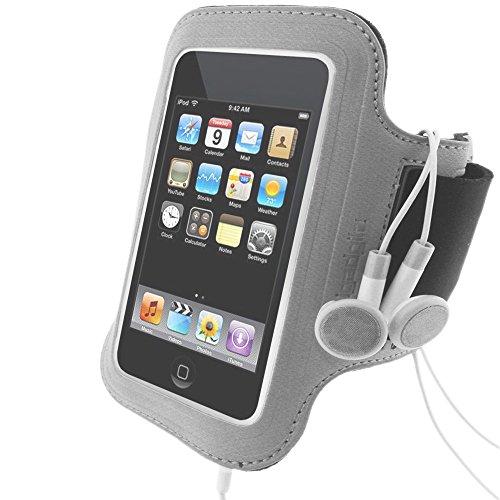 igadgitz Wasserabweisendes Neopren Armband Oberarmtasche in Schwarz mit silberem Warnstreifen für Sport Jogging und Fitnessstudio mit Tasche/Etui/Case für Apple iPod Touch 2G 2. Gen 3G 3. Gen und das neue 4G 4. Gen Generation 8gb, 16gb, 32gb & 64gb