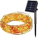 Amir Solar Lichterkette, 33ft 100 LED Solar Lichterkette Weihnachten, Solar-Kupferdraht ...