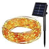Amir® - cadena de luces LED para iluminación de ambiente, con energía Solar, alambre de cobre, 100 LED, 8 Modos, uso en interiores/al aire libre, para jardines, hogares, patios, fiestas de Navidad y decoración