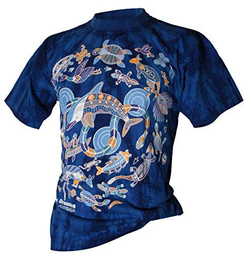 Aboriginal T-shirt Dolphin Dreaming Batik blau Blau