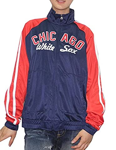 MLB Womens Chicago White Sox Zip-Up Track Jacket with Embroidered Logo L Dark Blue