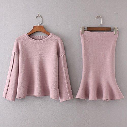 SZYL-Sweater Rundhals-Röcke Damen-Kleidung Europa, USA, Rosa, Einheitsgröße