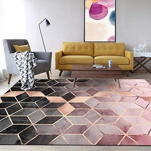 LXMDTSA Teppich Rose Gold Rosa/Grün Moderne Teppiche Geometrisches Muster Teppich Nordic Einfache Kaffeetisch Teppich Matte Für Wohnzimmer Schlafzimmer 150X100 1 -