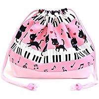 Black Cat Waltz dancing on (medium size) with gusset lunch bag piano drawstring Gokigen lunch (pink) x Ox pink made in Japan N3460200 (japan import) preisvergleich bei kinderzimmerdekopreise.eu