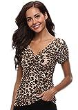 MISS MOLY Estampado de Leopardo Top Mujeres Camisas con Cuello en v Sexy Torcida Frente...
