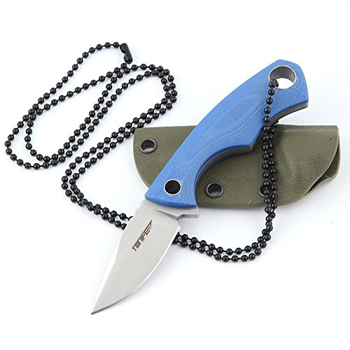 Tonife Fixed Blade Neck Knife Full Tang 4-5/8 Inch Overall with Kydex Sheath and Ball Chain (Blue) -