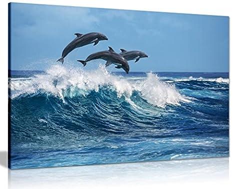 Delfine springen über Blau Waves Ocean Wildlife Leinwand Kunstdruck Bild, A2 61x41 cm (24x16in)