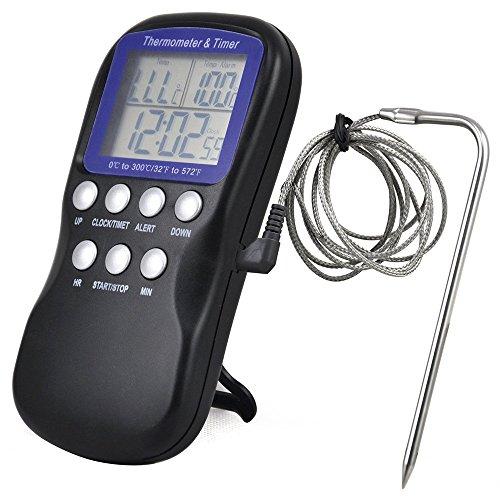 Termometro per alimenti lcd termometro per cucina digitale termometro per sonda per uso domestico barbecue per barbecue indicatore di temperatura per carne strumenti di cottura per cucina sensore di allarme orologio accessaries per cucina