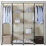 WOLTU SS5024 XXXL Kleiderschrank Stoff , Garderobenschrank Campingschrank Faltschrank , Stoffkleiderschrank mit Kleiderstange , 174x46x169 cm (Creme) -