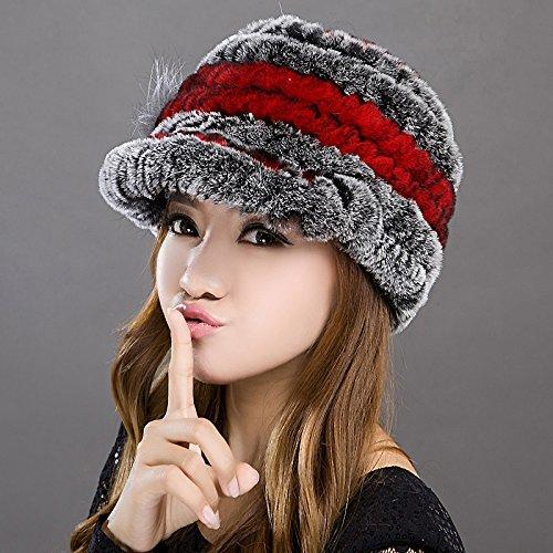 Damen Winter Strickmütze Alle Frauen - bringen Sie warme Winter hut Hut, Wein rot plus Asche - Asche Wein