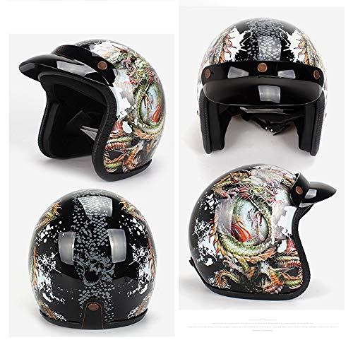 Motorradhelm Dragon Half Helm Double-Sided Bubble Mirror Mountain Off-Road-Kollisionsgürtel Schutzbrille ECE R 2205-Zertifiziert PC Wear Lens D.O.T Code L