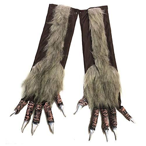 Godya Halloween Werwolf Kostüm Handschuhe Horror Wolfman Wolf Claws Handschuhe Kostüme Requisiten Für Unisex Erwachsene Tier Kostüm, 47X15 cm (The Wolfman Kostüm)