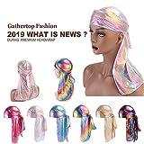 IYU_Dsgirh Unisexe Hommes Femmes Néon Laser Soie Polyester Bandana Chapeau Durag Rag Tail Headwrap Headwear Cadeau
