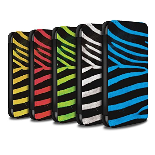 Stuff4 Coque/Etui/Housse Cuir PU Case/Cover pour Apple iPhone 5/5S / Noir/Blanc Design / Zèbre animale Peau/Motif Collection Pack 5pcs