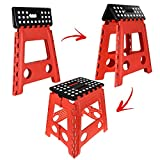 Large Fold Step Stool Plastic Multi Purpose Slip Resistant Top Step Foldable Easy Storage Home Kitchen Max Load 150kg - Red