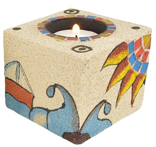 Piquaboo Sand Coated Mosaic Cube Tealight Holders