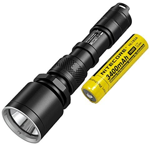 Linterna LED recargable NiteCore MH25GT CREE XP-L HI V3 (1000 lúmenes, batería de ion de litio 18650, cable de carga USB y funda), color negro
