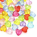 HOUSWEETY 100 Mix Acryl Spacer Beads Klar Herzen Liebe Perlen 12x12mm