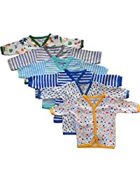 NammaBaby Cotton Front Open Full Sleeves vest- Tshirt -MULTI CUTE Set Of 6