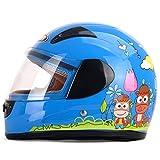 HJL Winter-Elektro-Motorrad-Kind-Helm-Kind-Mädchen-vollständiger Sturzhelmabdeckungs-Jungen-Wetter-Jahreszeit-Sturzhelm (Farbe : Blau)
