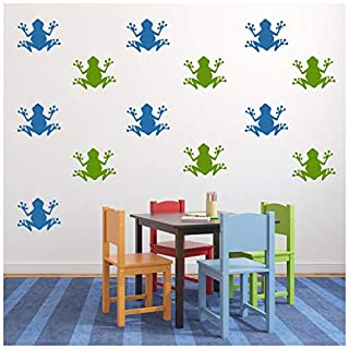 azutura Frog Wall Sticker Pack Reptile Animals Wall Decal Kids Bedroom Home Decor Leaf Green