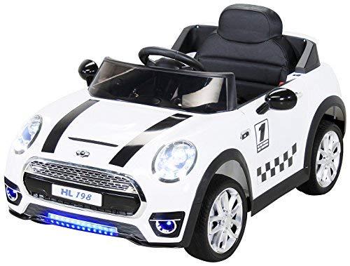 Actionbikes Motors Kinder Elektroauto Mini Cooper Eva Reifen Ledersitz Kinderfahrzeug Kinderauto in vielen Farben (Weiß)