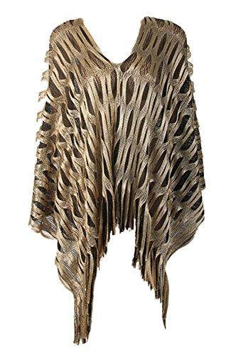 Icegrey Damen Glänzend Poncho mit Handgefertigt Gestrickt Und Höhle Heraus Detail, Cape für Frauen aus Strickmaterial mit Zierfransen Gold