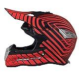 DONG Motorrad-Crosshelm für Erwachsene, roter Streifen, Yonth Full Face Off Road-Sturzhelm MTB...