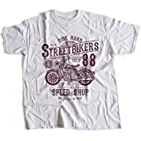 A002-160w Street Bikers Hommes T-Shirt Ride Hard Speed Shop Caferacer Custom Engine Garage Moto Cafe Racer Club(X-Large,White)