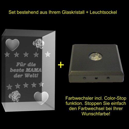 """VIP-LASER 3D Glas Kristall Quader XL mit Text """"Für die beste Mama der Welt"""" (mit 5 LED Leuchtsockel Schwarz)"""