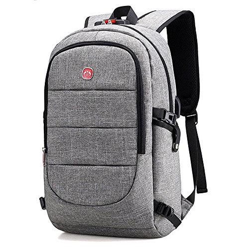 BestoU Mochila para portatil Hombre 15.6 Pulgadas Mochilas antirobo Impermeable Casual USB Laptop Backpack para Senderismo para Trabajo Diario (Gris)