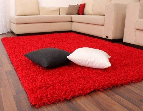 Tappeto shaggy rosso pelo alto pelo lungo tinta unita red nuovo prezzo top, dimensione:60x100 cm