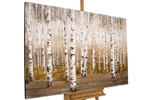 KunstLoft® Acryl Gemälde 'Morgentau im Birkenwald' 150x100cm | original handgemalte Leinwand Bilder XXL | Bäume Wald Natur Gold Braun für Wohnzimmer | Wandbild Acrylbild moderne Kunst mit Rahmen