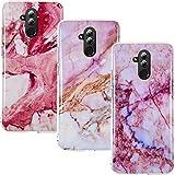 CLM-Tech Hülle 3X kompatibel mit Huawei Mate 20 Lite, TPU Silikon-Hülle Case Schutzhülle Handyhülle 3er Set, Marmor pink lila Mehrfarbig
