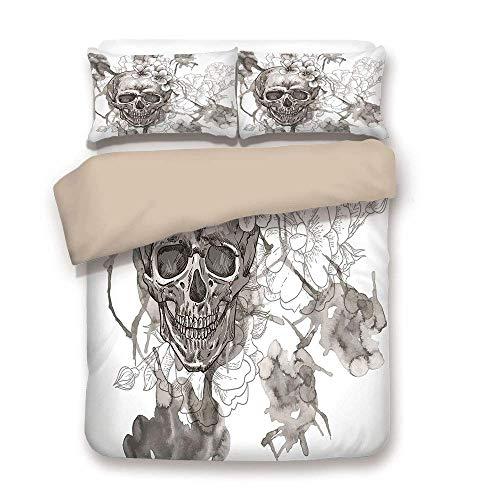 LIS HOME Bettbezug-Set, Tag der Toten Dekor, Malerei Schädel Blumen Dia de Los Muertos festlichen Dekor Print, Dimgrey und Weiß, dekorative 3 Stück Bettwäsche Set von 2 Kissen Shams Twin Size