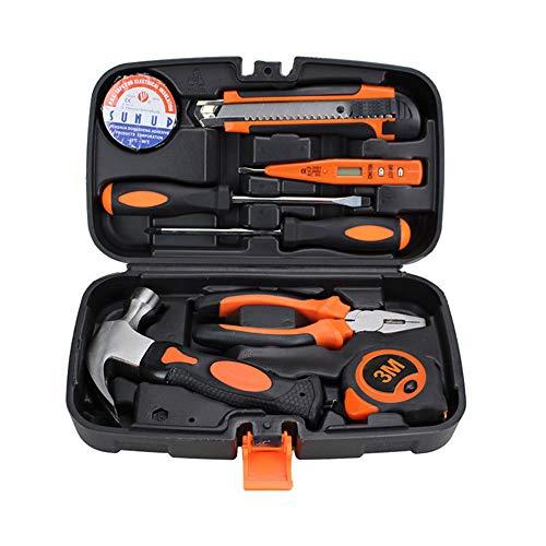 SINBROL 9PC Multi Haushalts-Werkzeugkoffer Werkzeugset Werkzeugsatz Elektrowerkzeuge DIY Reparatur Werkzeuge Kits Set Inkl. Hammer Schraubendreher Schraubenschlüssel-Set für Garage Auto Garten