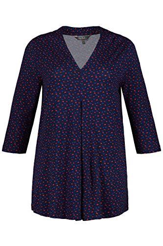 Ulla Popken Damen T-Shirt V-Ausschnitt Bedruckt mit Falte, A-Line, Große Größen, Violett (Helllflieder 86), (Herstellergröße: 50+)