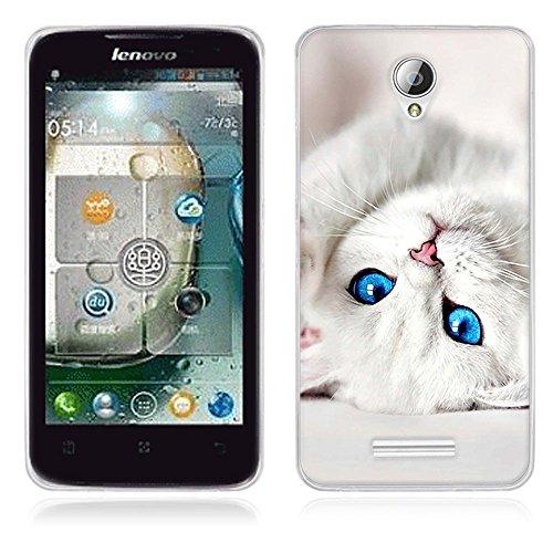 Fubaoda Lenovo A5000 Hülle, [Katze] Künstlerische Malerei-Reihe TPU Case Schutzhülle Silikon Case für Lenovo A5000
