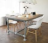 Tisch Industrie Stil Massive Esstisch Modern Neu Gerüst Holz Esstisch Vintage Gartentisch Konferenztisch (6 Pers. Tisch 200 (L) x 95 (B) x 78 cm (H), Grey Wash (Halb-Grau gebeizt + transp. lackiert))